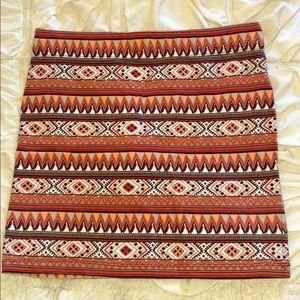 Forever21 stretchy tight mini skirt Aztec print